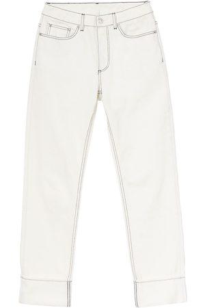 Burberry Ženy Rovné nohavice - Straight-fit topstitched washed jeans