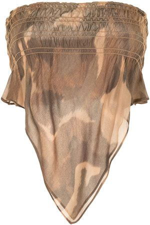 DION LEE Camouflage print shirred bandeau top