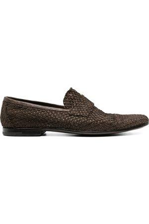 Premiata Muži Nazouváky - Woven-effect leather loafers