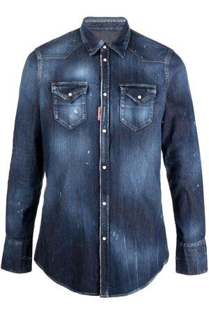 Dsquared2 Muži Džínové košile - Icon print distressed denim shirt
