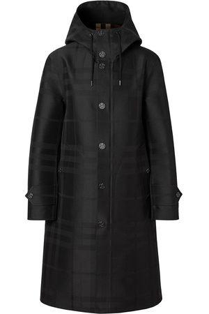Burberry Muži Duffle kabáty - Globe graphic detail check technical coat