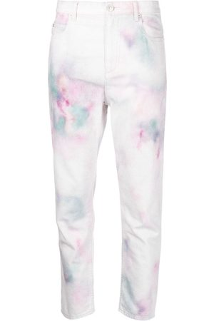 Isabel Marant Ženy Kalhoty - Abstract-print cropped trousers