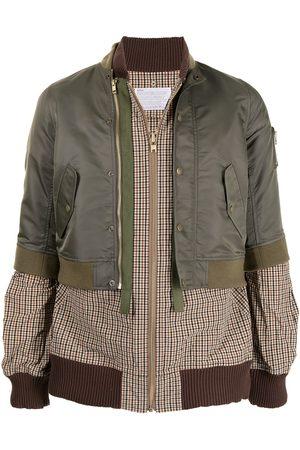 Kolor Muži Bombery - Shell-panelled checked bomber jacket