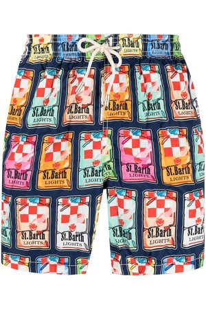 MC2 SAINT BARTH Muži Šortky - Sticker-print swim shorts