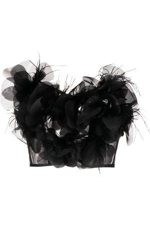 LOULOU Ženy Bez ramínek - Strapless feather-detail top
