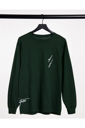 ASOS Long sleeve t-shirt in green with logo print