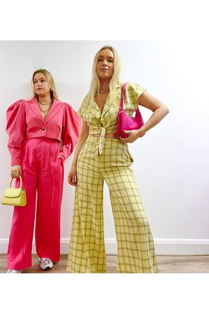 Labelrail X Olivia & Alice belted wide leg trousers in grid check co-ord-Yellow