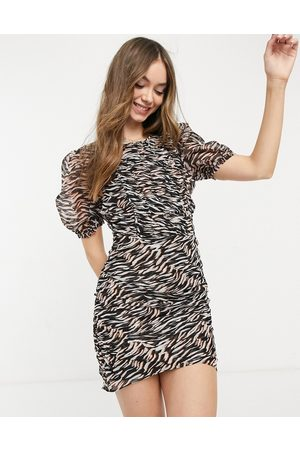 French Connection Crinkle bodycon mini dress in tiger print-Black