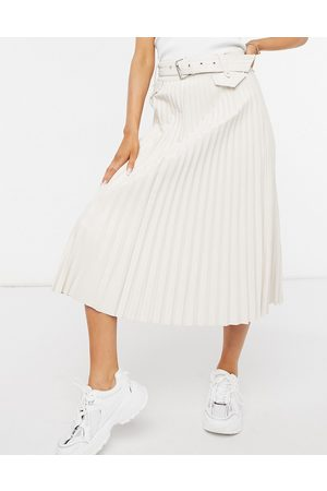 Morgan Pleated midi skirt in cream