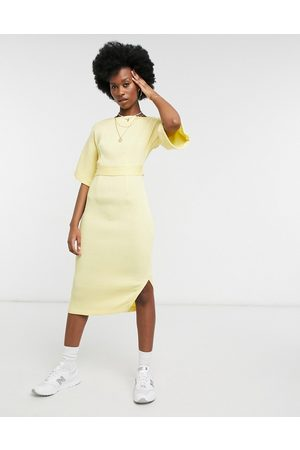 Closet Ribbed pencil work midi dress with tie back in lemon-Yellow