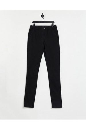 ASOS Muži Chino - Skinny chinos with stacked hem in black
