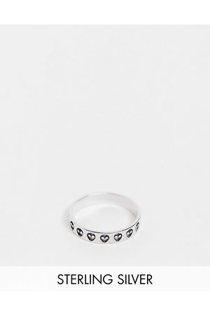 ASOS Sterling silver band ring with alien design in silver