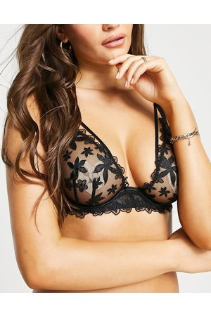ASOS Fuller Bust Miya pretty satin embroidery underwire bra-Black