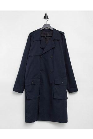 ASOS Double breasted trench coat in navy