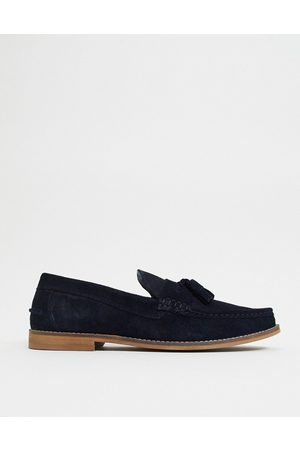 ASOS Tassel loafers in navy suede with natural sole