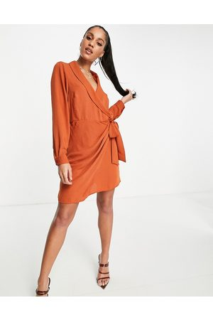 ASOS Collared wrap mini dress in rust