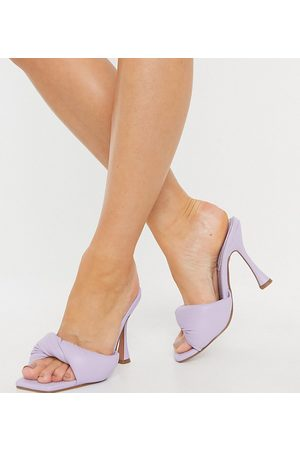 ASOS Wide Fit Niki padded twist high heeled mules in lilac-Purple