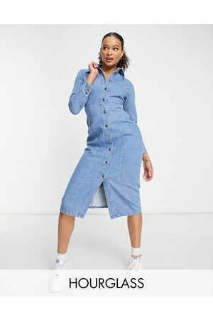 ASOS Hourglass denim fitted seamed midi dress in midwash-Blue