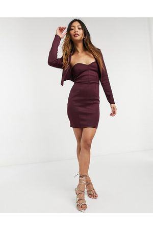 ASOS 2 in 1 bandeau mini dress with tux jacket in plum-Multi
