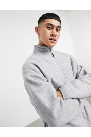 ASOS Co-ord oversized polar fleece track jacket in grey marl