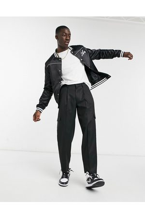 ASOS Muži Kapsáče - Cargo oversized tapered smart trousers in black