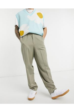 ASOS Muži Chino - High waist slim smart trousers in stone