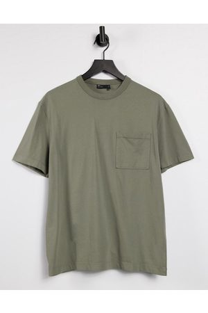 ASOS Relaxed t-shirt with pocket in washed khaki-Beige