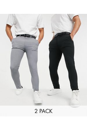 ASOS Muži Chino - Super skinny smart trouser multipack in black & grey