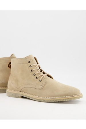 ASOS Muži Šněrovací - Desert boots in stone suede with leather detail