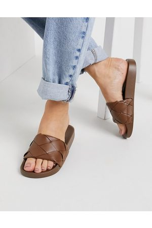 ASOS Finley woven sliders in brown