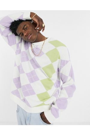 ASOS Knitted jumper with argyle pattern in pastel tones-Purple
