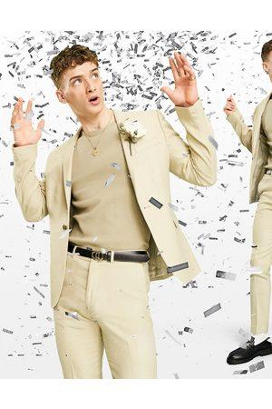 ASOS Wedding skinny suit jacket in wool look in camel-Beige