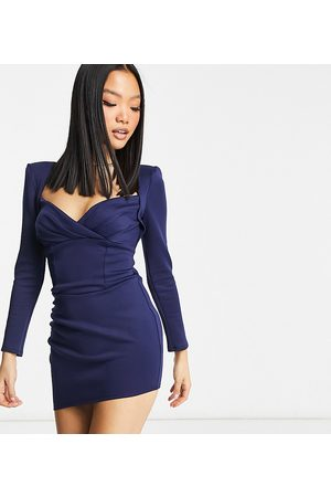 ASOS Ženy Na párty - ASOS DESIGN Petite sweetheart neckline long sleeve mini dress in navy