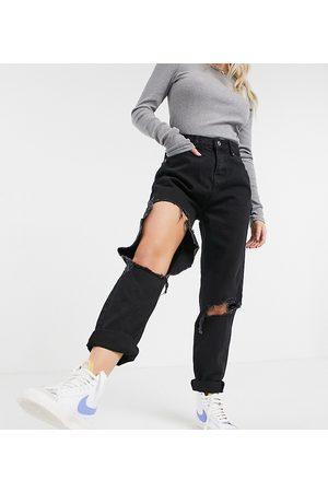 ASOS ASOS DESIGN Petite 'original' mom jean in clean black with extreme rips