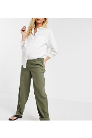 ASOS Ženy Chino - ASOS DESIGN Maternity slouchy chino trouser in khaki cheesecloth with side bump band-Green