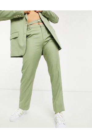 Bershka Ženy Společenské - Double waisted tailored trouser co-ord in olive green