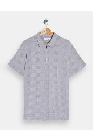 Topman Prince of wales check polo in grey