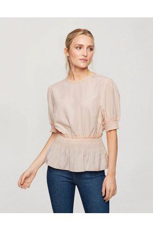 Miss Selfridge Ženy Halenky - Blouse with shirred waist in blush-Pink