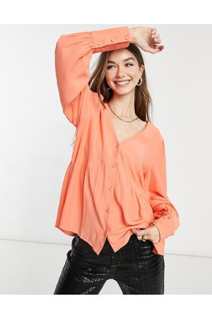Y.A.S Ženy Halenky - Smock blouse with v-neck in coral pink