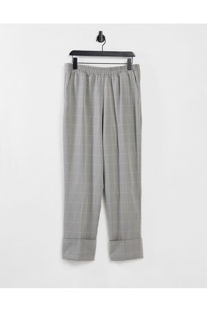 Y.A.S Ženy Společenské - Tailored straight leg trousers with elasticated waist and turn up hem in grey check-Multi