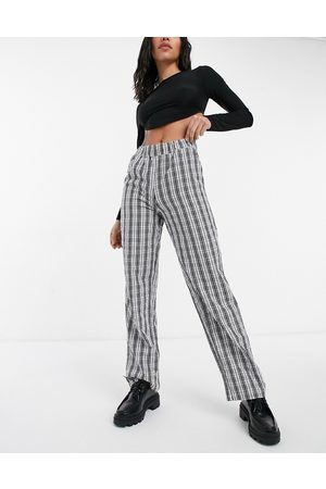Noisy May Ženy Rovné nohavice - Annie lose straight leg trousers in black check print-Multi
