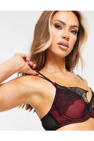 Pour Moi Ženy Bez kostic - Frill me half padded underwire bra in black and red-Multi