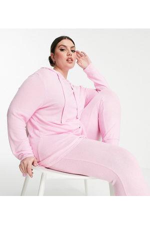 Simply Be Ženy Spodní prádlo soupravy - Pretty secrets frill hem hoody and jogger pyjama set in pale pink