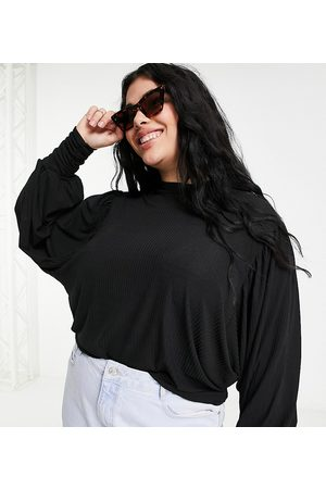 Simply Be Ženy Halenky - Blouse with balloon sleeve in black