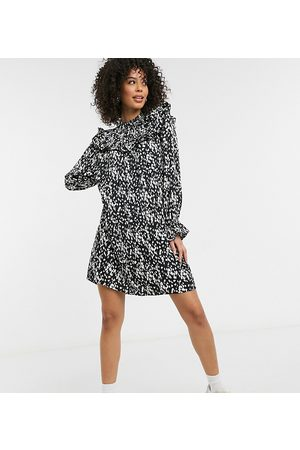 Vero Moda Mini smock dress with ruffle detail in spot print-Multi