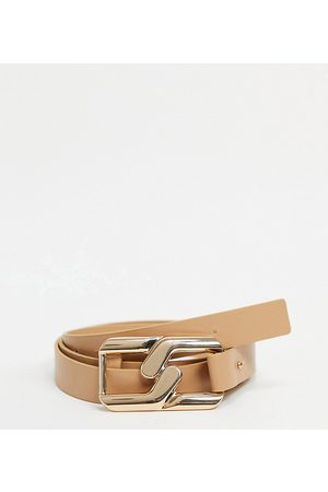 My Accessories Curve Ženy Pásky - My Accessories London Curve Exclusive waist and hip belt with chain in camel-Beige