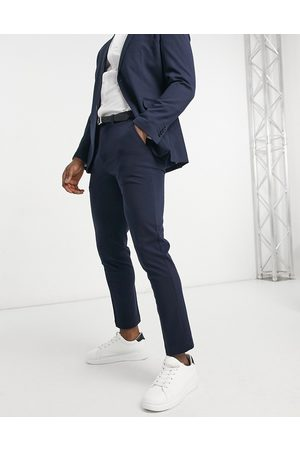 Selected Jersey suit trousers in slim fit navy