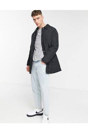 ASOS Muži Trenčkoty - Padded trench coat with quilted lining in black