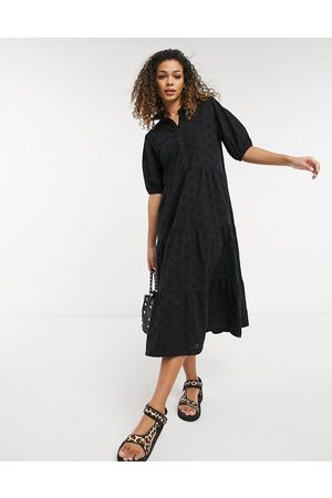 ASOS Broderie midi tiered shirt dress with short sleeves in black