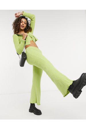Bershka Ženy Široké nohavice - Fluffy flared trouser co-ord in green